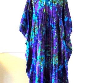 vintage tie dye tunic dress - 1960s purple/aqua tie-neck pleated maxi dress