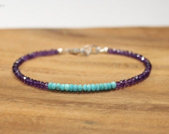 Sleeping Beauty Turquoise & Amethyst Bracelet, Sleeping Beauty Turquoise Jewelry, February and December Birthstone