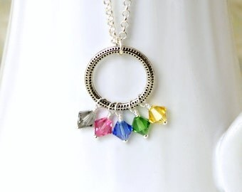 Pentatonix inspired crystal pendant necklace with 5 swarovski crystals - PentaconEvent fundraiser - 30 inch chain