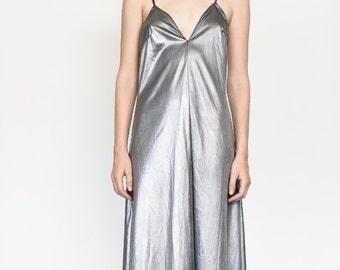 liquid silver 70s dress