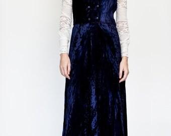 70s Blue Crushed Velvet Vest + maxi Skirt