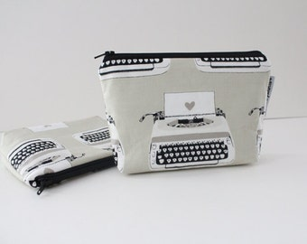 simple pouch -- black & white typewriter love