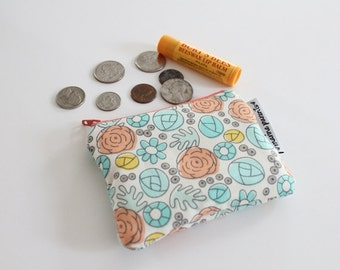 coin pouch -- whimsy floral