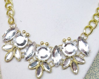 Gold Rhinestone Statement Necklace, Clear Gold Rhinestone Bib Necklace, Preppy J-Crew Style Statement Necklace