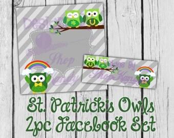 Facebook Timeline Cover - Premade Facebook Profile - St. Patrick's Day Owls - Facebook Shop Set, Timeline Cover Image, Chevron Timeline