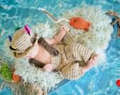 Baby Fishing Hat Pants Set Crochet Pattern, CROCHET PATTERN, Fishing Hat Crochet Pattern, Fly Fishing Pattern, Baby Crochet Pattern, Newborn