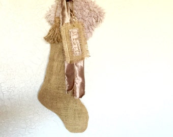 Shabby Fur Trim Burlap Christmas Stocking Personalized with Hand Stamped Name