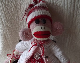 Santa Sock Monkey with Crocheted Red White Candy Cane Christmas Outfit and Embellishments