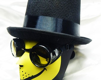STEAMPUNK MASK - 3 pc. set of Yellow SMILEY Neoprene Steampunk Dust Riding Full Face Mask with Top Hat and Matching Steampunk Goggles