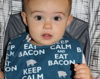 Keep Calm and Eat Bacon Flannel / Terry Cloth Bib