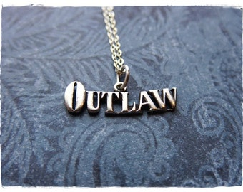 Silver Outlaw Necklace - Sterling Silver Outlaw Charm on a Delicate Sterling Silver Cable Chain or Charm Only