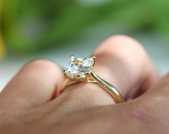 Princess cut / square moissanite engagement ring / yellow gold ring / statement piece