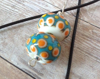 Lampwork Glass Bead Necklace - Lampwork Glass Bead Pendant - Glass Bead Pendant - Ivory Glass Pendant - Lampwork Glass Bead Pendant