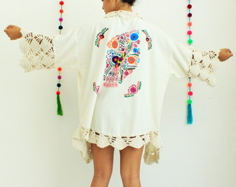 SALE Wedding Embroidered Robe Colored Frida Kimono