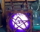 Steampunk Elder Sign, Nercronomicon symbol box, Cthulhu warding, H P Lovecraft  Glowlamp, unisex Attach corsets or belts.