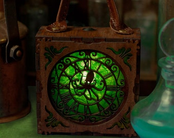 Steampunk Captain Nemo . Squid Proximity Alarm, unisex Glowlamp Attaches to corsets or belts.