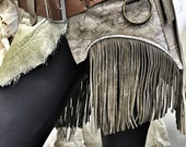 Silver Snakeskin Messenger Belt / Utility Belt / Festival Clothing / Fringe / Pocket Belt