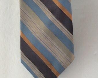 Striped Brown Blue Tan Mens 70s Vintage Necktie 3 Inch Britannia Preppy Neck Tie