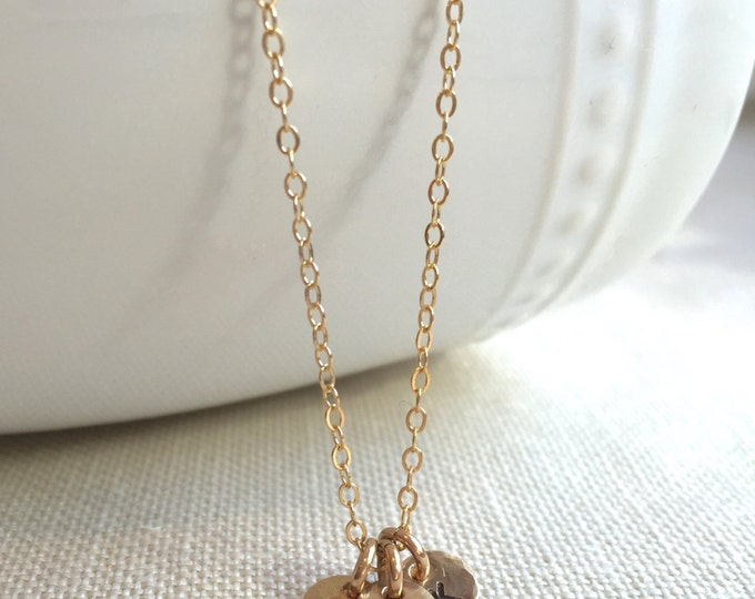Tiny Gold Initial Necklace--Sweet Charm Necklace for Mother's Day