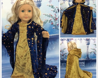 18 inch doll dress cape and shoes Medieval style fits american girl size doll renaissance