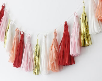 RED PINK WHITE Coral Gold Tassel Garland /No Assembly Readymade Tissue Tassels Bunting Baby Shower Bridal Nursery Photo Prop Wedding Decor