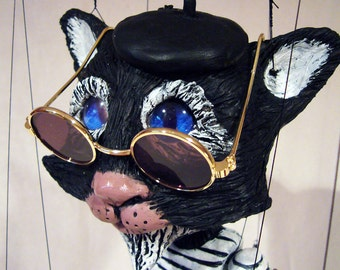 Beatnik Cat -  Hand-made, one-of-a-kind Marionette