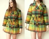 1970's Vintage Wool Check Tartan Belted Pea Coat