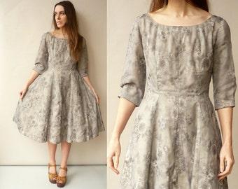 Genuine 1950's Vintage Floral Prom Evening Dress Size S/M