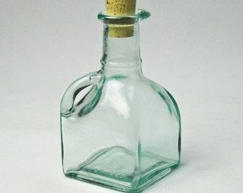 Aqua Glass Five Inch Cruet / Cream Pitcher / Oil and Vinegar / from Italy / Vetreria Etrusca
