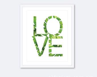 Love Art Print - Love Wall Art - Watercolor Leaf Love Print -  Nursery Wall Art - Nursery Decor - Bedroom Wall Art - Aldari Art Studio