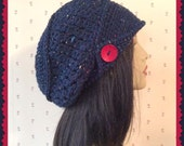 Navy Slouch Crochet Ladies Hat with wood button and brim hat