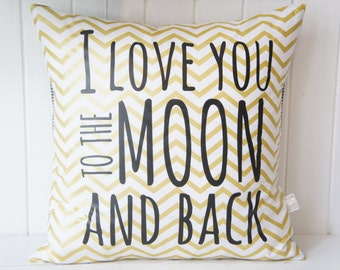 I love you to the moon and back Pillow Cover, 20x20, Metallic gold chevron