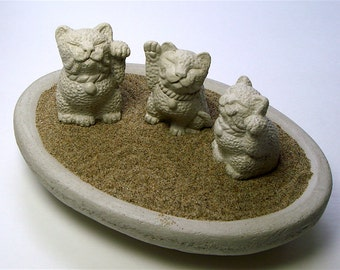Stone Bonsai Lucky Cat Maneki Neko ~ Your Choice!