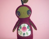 RESERVED for Ruth - DO NOT Purchase - Billie Hummingberry - Art Doll - ooak handmade soft sculpture - hannakin leaf vintage embroidery felt