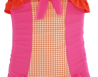 Ruffled Boyshort Swimsuit in Orange Gingham and Hot Pink: SS16 Collection (Size 2 - 7) ***Markdown