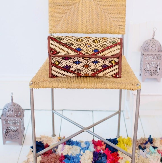 Moroccan Brown Multi Colour Kilim Hand Clutch with Shoulder Straps Berber style-bag, tote, handbag, purse, weekender,birthday gifts, gifts
