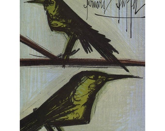 Bernard Buffet Midcentury Lithographic Print - Bird Couple