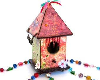 Birdhouse Suncatcher Boho Birdhouse Beaded Bohemian Hippie Birdhouse Multicolor Mixed Media Assemblage Outdoor Garden Decor