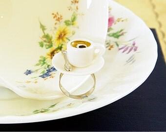 Coffee Cup Ring - Coffee Lover Gift - Coffee Jewellery