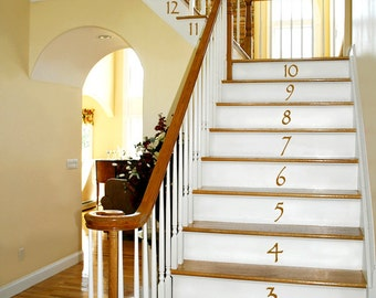 Numbers Vinyl Wall Decals: Vinyl Stair Decals, Stair Stickers, Vinyl Number Decals, Number Decor (0179c38v)