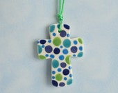 Polka Dots Small Cross Blues and Greens - Double Sided Ormament