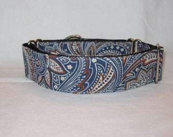 Handsome Paisley Martingale Dog Collar - 1.5 or 2 Inch - blue orange cream abstract