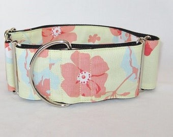 Pastel Flower Martingale Collar - 1.5 or 2 Inch - yellow pink blue beautiful elegant floral