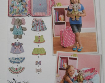 Stuffed Elephant Toy with Clothes and Carrying Case Simplicity Pattern 1238 UNCUT