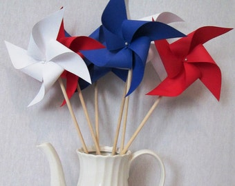Paper Pinwheels 12 Fourth of July Pinwheels 4th of July Party Favors July 4th Pinwheels BBQ Favors Red White and Blue Stars and Stripes