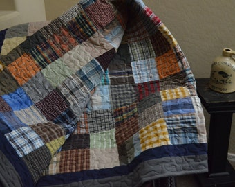 Quilt Black and Gray Men's Plaid Shirt Quilt Upcycle : mens quilt - Adamdwight.com