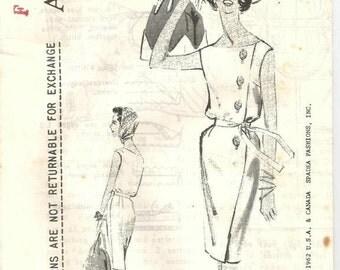1960s Sheath Dress Side Button Shirring Sleeveless Designer Alan Graham Spadea A2190 Uncut FF Size 18 Bust 40 Womens Vintage Sewing Patterns