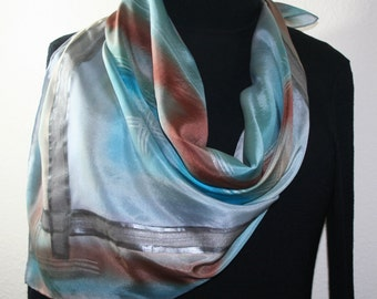 Silver Grey, Steel Blue, Brown Handmade Scarf FOGGY BEACH, by Silk Scarves Colorado. X-Large 35x35 Square Hand Painted Silk Scarf