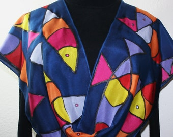 Navy Blue Handpainted Silk Scarf. Red, Pink, Yellow Hand Painted Shawl. Handmade Scarf FISH POND. Size 11x60. Birthday Gift. Gift-Wrapped.