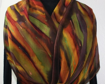 Brown, Hand Painted Silk Scarf. Terracotta, Olive Handmade Shawl FOREST SONG. Silk Scarves Colorado. Large 14x72. Birthday, Anniversary Gift